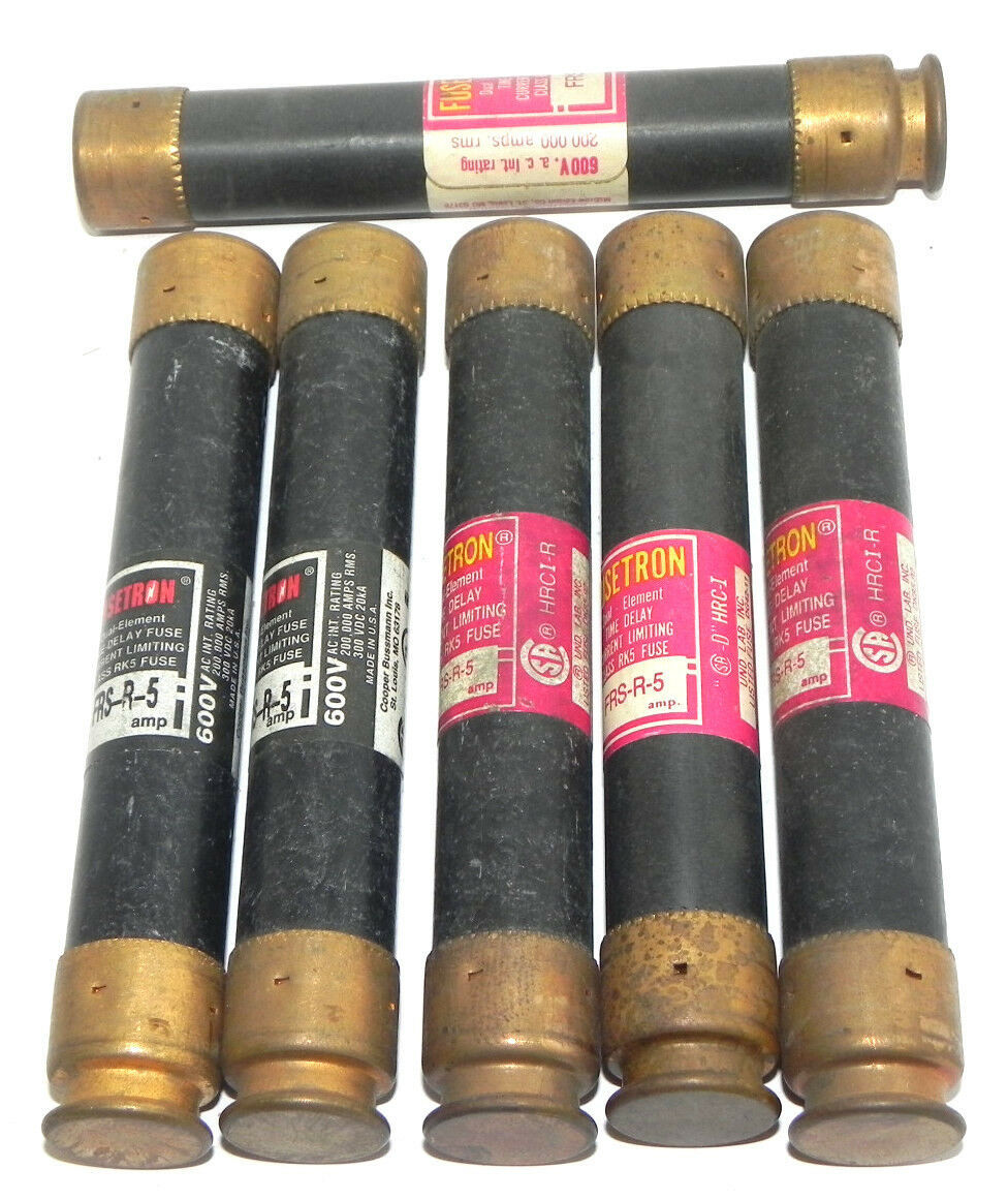 LOT OF 6 BUSSMANN FUSETRON FRS-R-5 DUAL-ELEMENT CLASS RK5 FUSES 600V 5AMP, FRSR5