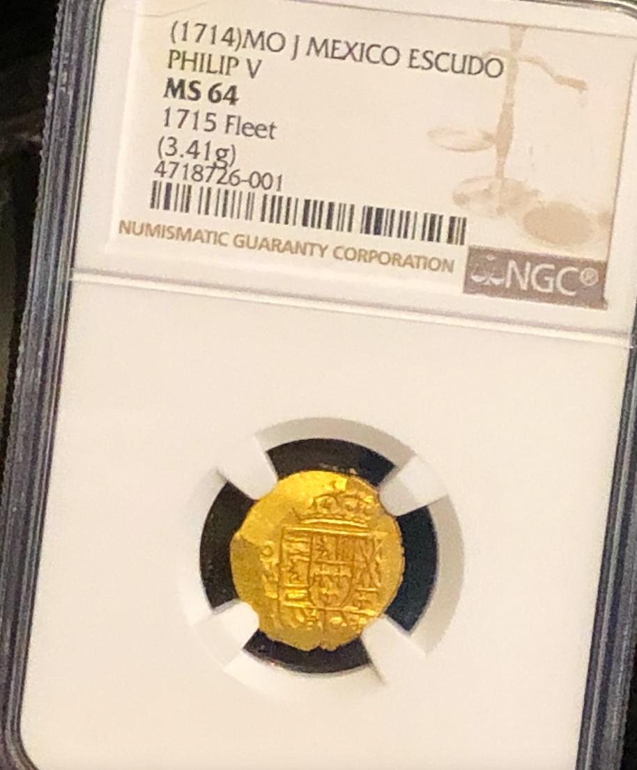 MEXICO 1 ESCUDO 1714 1715 FLEET NGC 64 PIRATE GOLD COINS FISHER COA TREASURE!