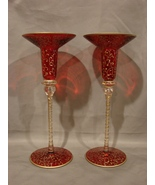 Pair of  Red with Gold Scroll Accents Candle Holders ~Hand Painted Blown... - $17.99