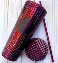 2020 Starbucks Ruby Red Berry Disco Ball Diamond Grid Venti 24 oz Tumble... - $38.91