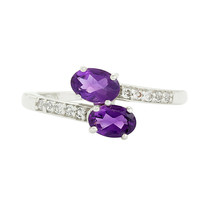 Stackable Bypass 925 Sterling Silver Amethyst White Topaz Women Accents ... - $16.19