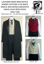 Men's Single & Double Breasted Frock Coat Vests Sewing Pattern #109 (Lmm109) - $18.00