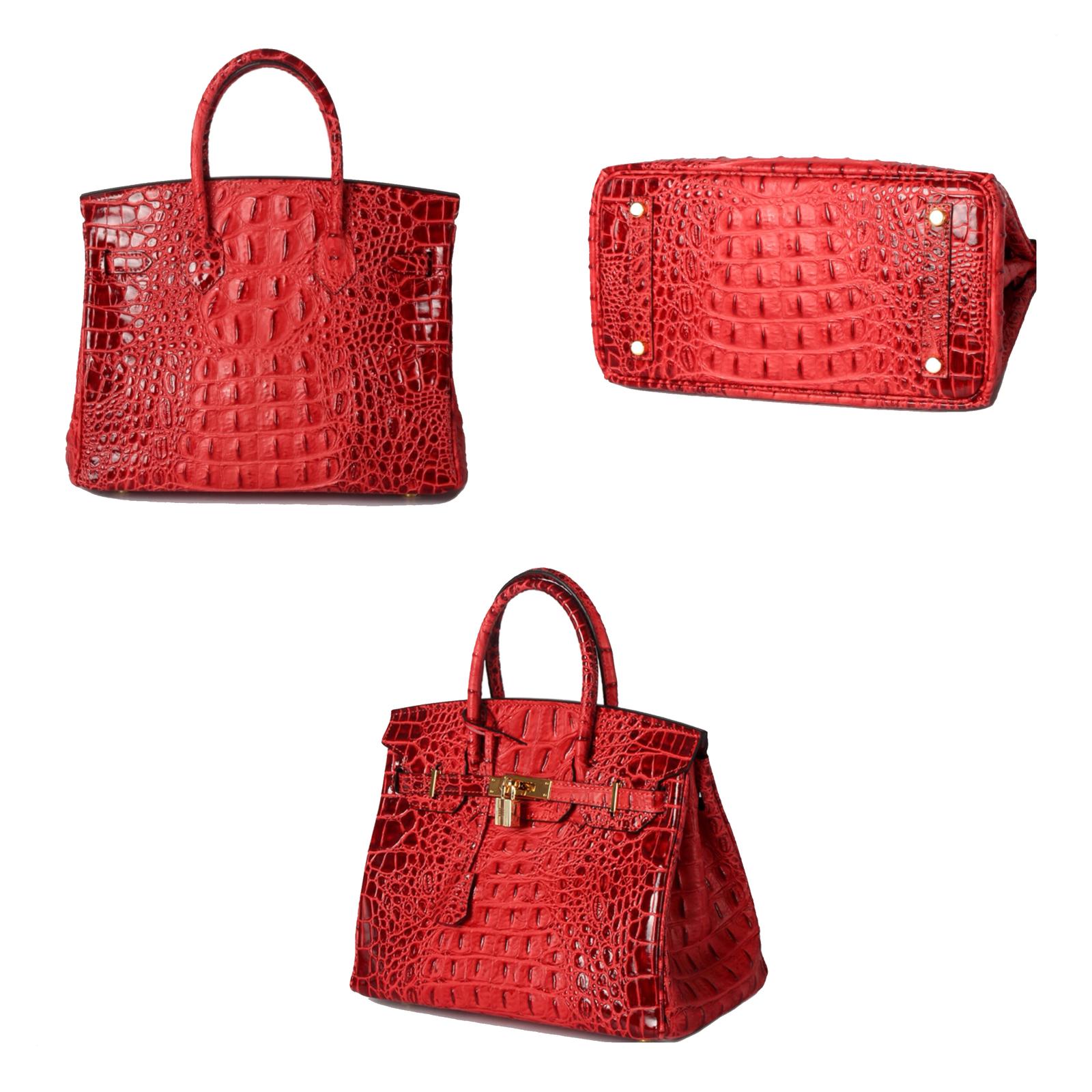 35 cm Crocodile Embossed Italian Leather Lock and Key Satchel Celebrity Handbag