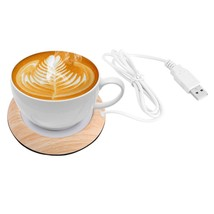 Protable Usb Wood Grain Cup Warmer Heat Beverage Mug Mat Keep Drink Warm... - £10.59 GBP