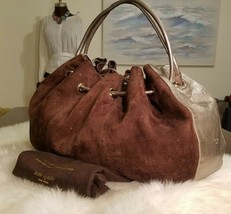 Kate Spade Eton Eley Opus Brown Signature Suede Silver Leather Gathered ... - £61.35 GBP