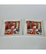 Crate & Barrel Set of 2 TOKYO City Scenes Square Snack PLATES / Trays 5-... - $18.80