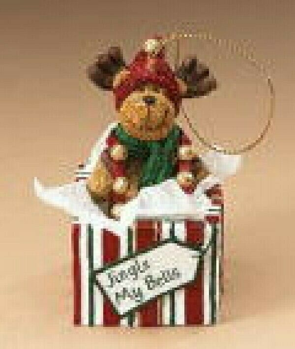 "Boyds Holiday ""Jingle My Bells"" Resin Moose Ornament- #25520-  New- Retired"