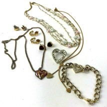 Vtg Costume Heart Jewelry Small lot Pin Necklaces Bracelet Avon Earrings... - $15.83