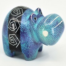 Crafts Caravan Soapstone Purple & Blue Hippopotamus Hippo Figurine Made Kenya
