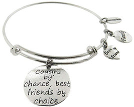 Cousins By Chance Best Friends By Choice Silver Tone Expandable Wire Bra... - $65.61