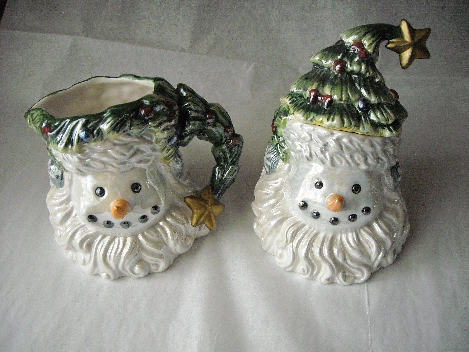 Santa Snowman Christmas Tree Cream & Sugar Collector Set Glazed Ceramic