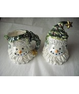 Santa Snowman Christmas Tree Cream & Sugar Collector Set Glazed Ceramic - $28.95