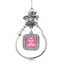 Inspired Silver My Sister is a Fighter Breast Cancer Awareness Classic Snowman H - $14.69
