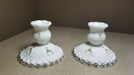 Fenton Pair Violets In the Snow Silver Crest Candle Sticks Candle Holder - $29.69