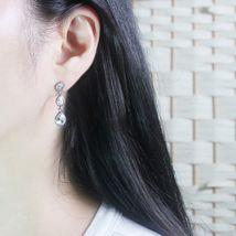Tiered Round Water Drop Teardrop Shape Made With Swarovski Stone Dangle Earrings image 9