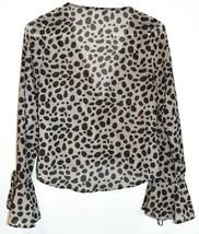 Superdown Women's Madeline Gray Spotted Deep V-Neck Surplice Blouse Size XS image 2