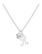 Disney Parks Mickey Mouse Faux Gem Icon Letter Initial R Necklace Silver Color - $28.90