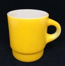 Mug Fire King Yellow C Handle Anchor Hocking USA Vintage Stackable Coffee - $18.70