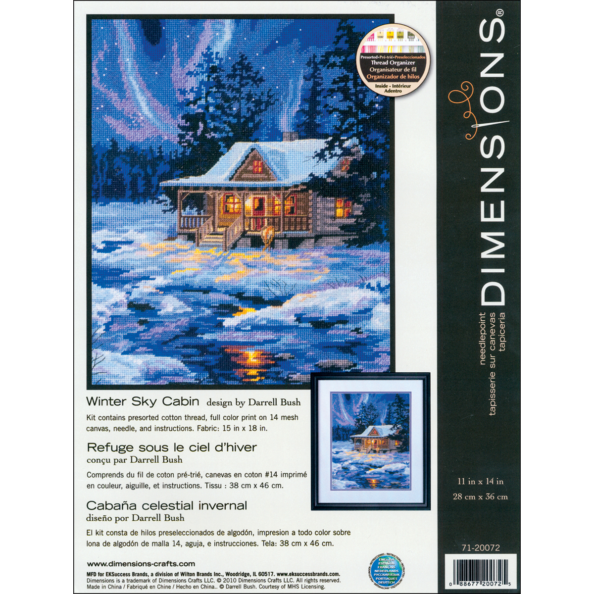 "Primary image for Dimensions Needlepoint Kit 11""X14""-Winter Sky Cabin Stitched In Thread"