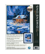 "Dimensions Needlepoint Kit 11""X14""-Winter Sky Cabin Stitched In Thread - $32.89"