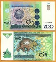 UZBEKISTAN 1997 UNC 200 Som Sum Banknote Paper Money Bill P-80 - $1.00