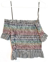 WAYF Women's Smocked Ruffle Rainbow Striped Off-the-Shoulder Crop Top Size S image 2