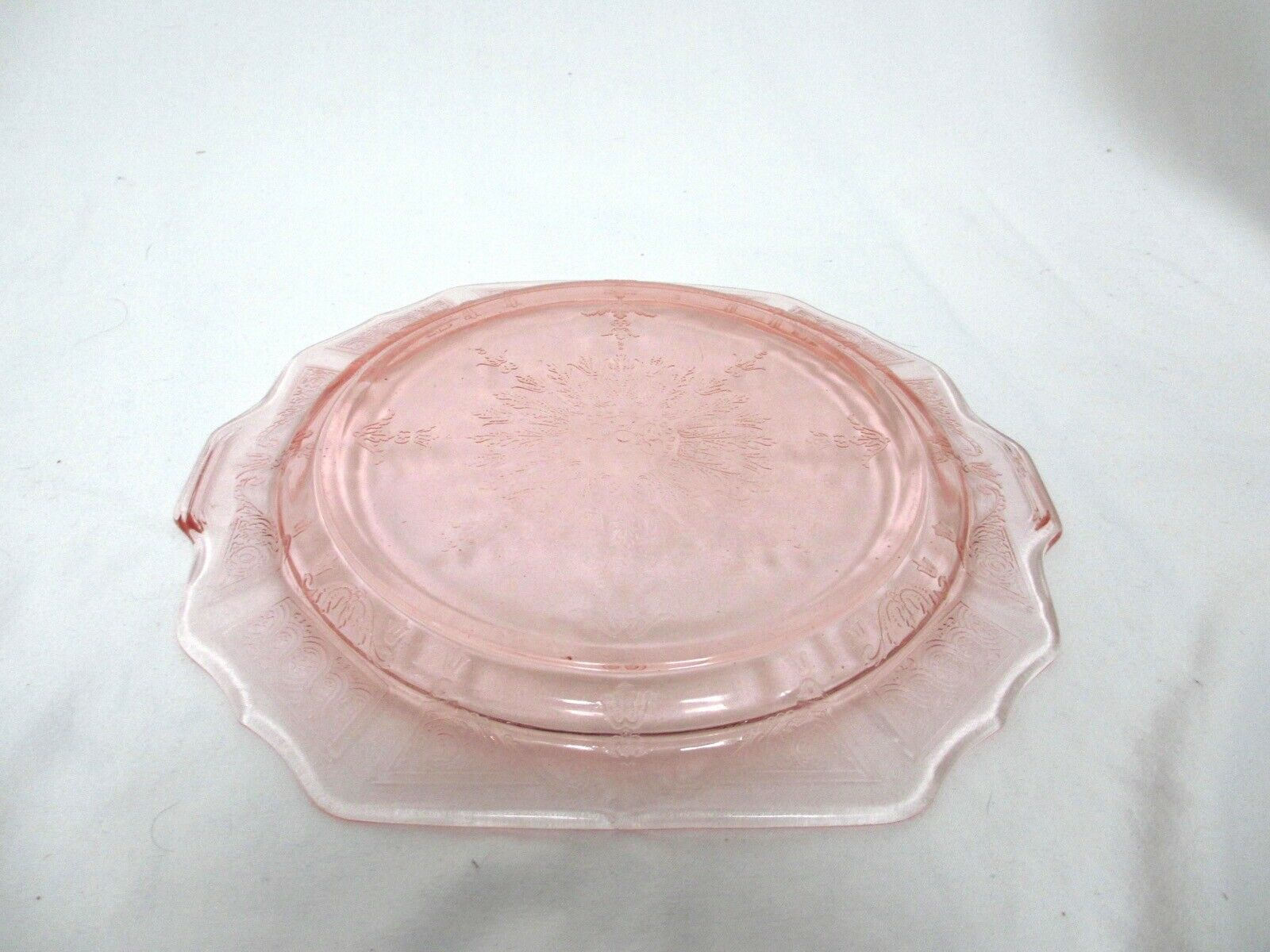 Depression Carnival Glass Princess Pink Anchor Hocking Sandwich Plate w Handles