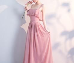 BLUSH Chiffon Bridesmaid Dresses Blush Pink Spaghetti Cap Sleeve Maxi Prom Dress image 5