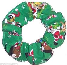 Looney Tunes Bugs Bunny Taz Tweety Bird Christmas Green Fabric Hair Scru... - $7.49