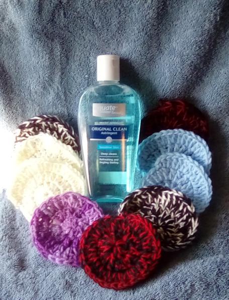 Sea Breeeze Astringent and 20 Assorted Random Mix Crochet Scrubbers.