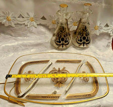 RARE 1950's Georges Briard Sonata Dove Rectangle Glass Tray & Cruets V&O image 7