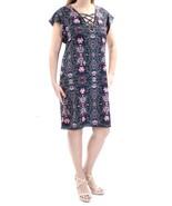 JESSICA SIMPSON Women's Dark Navy Floral Tie Short Sleeve Dress Size 8 - $24.12