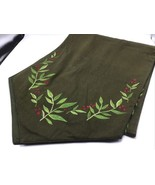 Table Runner Christmas Holly Embroidered Dark Green Tapered Elegant Clas... - $33.85