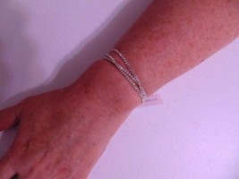 "Charter Club 6"" Silver  Tone Tri-Band Simulated Diamond Stretch Bracelet... - $9.55"