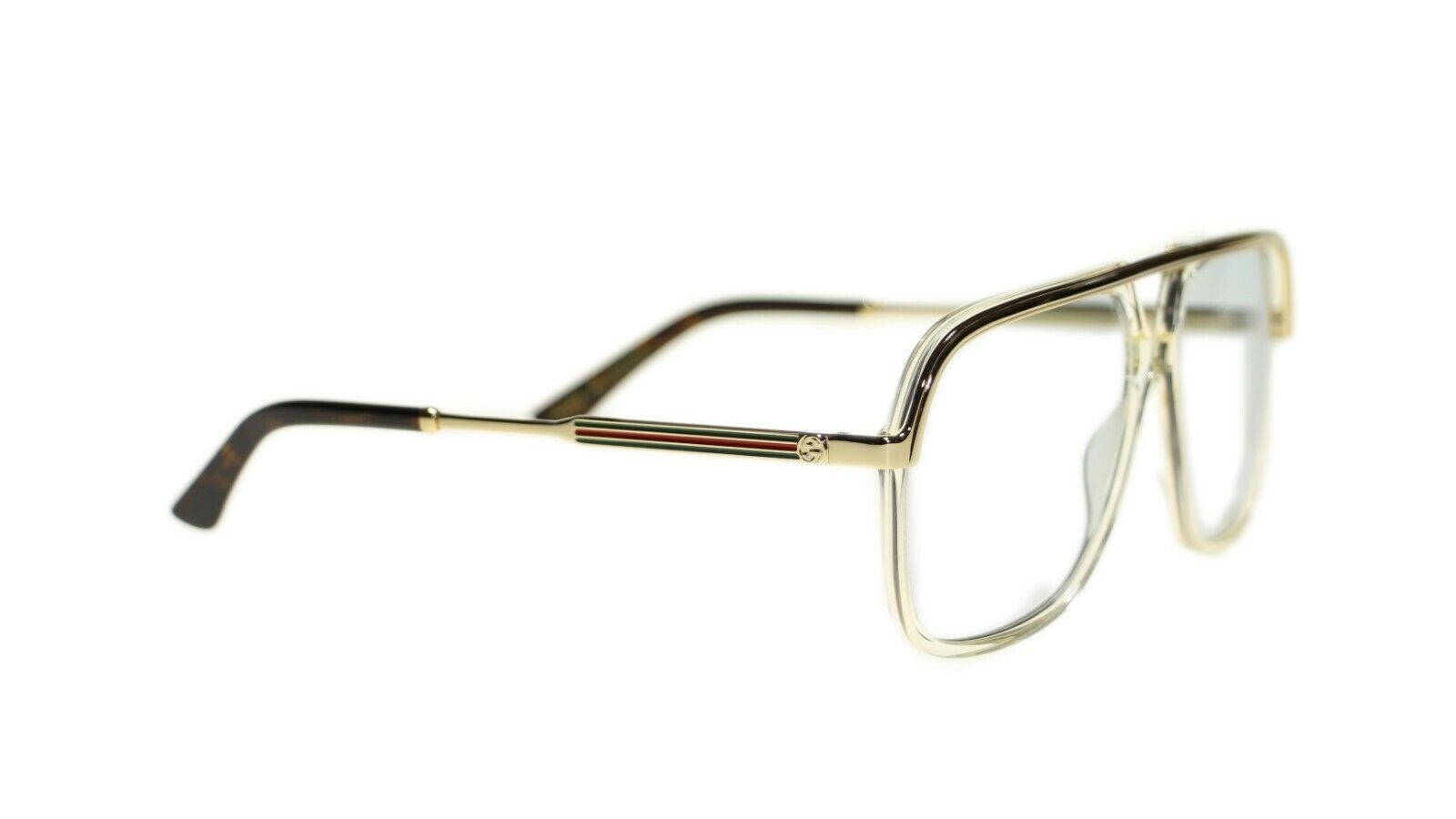 Gucci Unisex Sunglasses GG0200 005 Yellow Gold Light Blue Lens 57mm Authentic