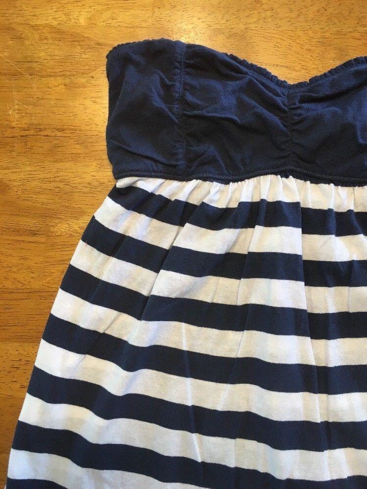 Abercrombie New York Blue & White Striped Girls Tube Top Shirt - Size: XL image 3
