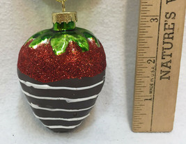 Chocolate Covered Strawberry Glass Ornament Colorful Christmas Glitter H... - $9.89