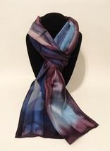 Hand Painted Silk Scarf Navy Periwinkle Blue Plum Purple Silver Ladies N... - $56.00