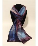 Hand Painted Silk Scarf Navy Periwinkle Blue Plum Purple Silver Ladies New Gift - €50,00 EUR