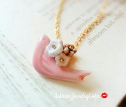 Pink Porcelain Sparrow Necklace Czech Glass Bell Flower Necklace Pink Bi... - $38.00+