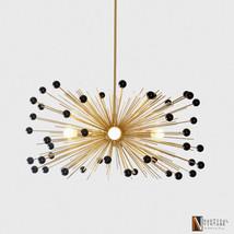 Mid Century Modern Brass Beaded Urchin Chandelier 5 bulb Starburst Sputn... - £391.71 GBP