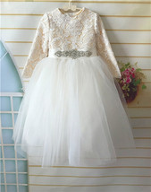 Lace Flower Girl Dress, Tulle Flower Girl Dress with Long Sleeves Beated... - $82.00+