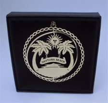 Daytona Beach Brass Christmas Ornament Florida Black Leatherette Gift Box - $13.95