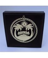 Daytona Beach Brass Christmas Ornament Florida Black Leatherette Gift Box - $13.95