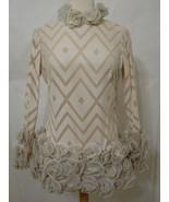 VINTAGE Mini Dress 60's w/Crystal Aurora Borealis Chevron Cut Nude Cream... - $629.99