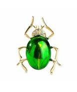 "GREEN BEETLE PIN 1.5"" Cute Enamel Bug Insect Brooch Rhinestone Gold Plat... - $11.95"