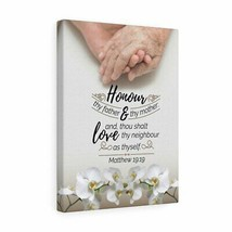 Scripture Canvas Honour Thy Father and Mother Matthew 19:19 Christian Wa... - $75.98+