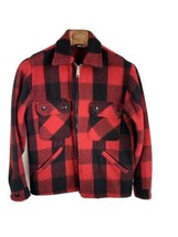 Vintage JC Penney Hunting Apparel Mens Jacket S Small Red Black Plaid Wool - $98.99