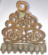 Judaica Vintage Bronze Hanukkah Oil Menorah North Africa Bird Ornament Wall Hang image 4