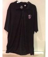 SACRAMENTO KINGS Polo Shirt Black Large Men's NBA Cutter & Buck Dry Tec EUC - $19.95